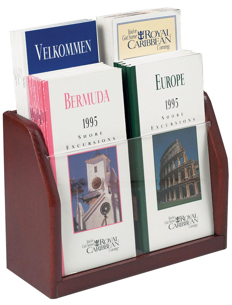 Displays2go Four Pocket Literature Holder in Red Mahogany Finish