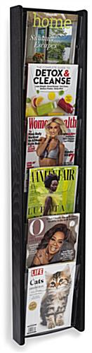 Black wall mounted 6-tiered magazine rack