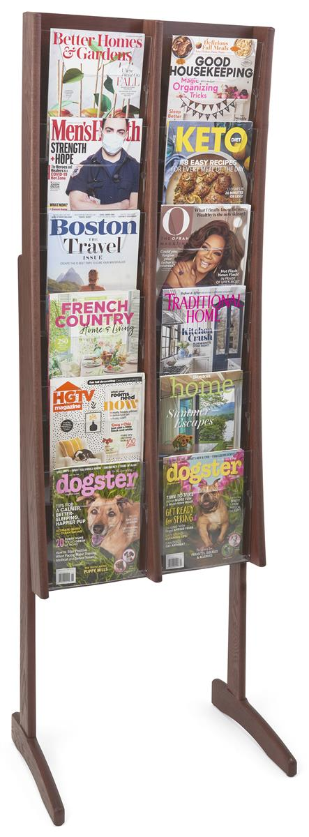 This Wood Magazine Rack Is Finished In Red Mahogany