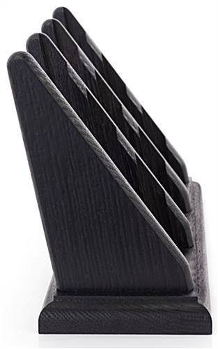 Wooden 9 pocket business card stand with easy access to call cards