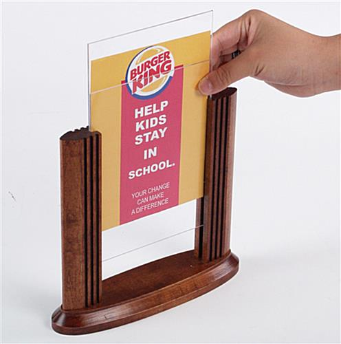 "Wood Menu Holders That Accommodate 5"" x 7"" Signs"
