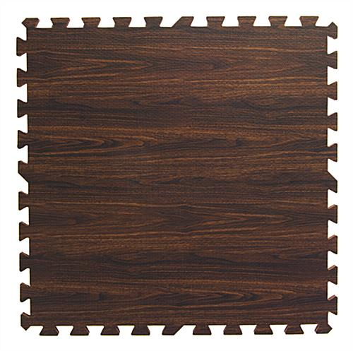 Dark Oak Interlocking Wood Floor Mats with Jigsaw Pattern