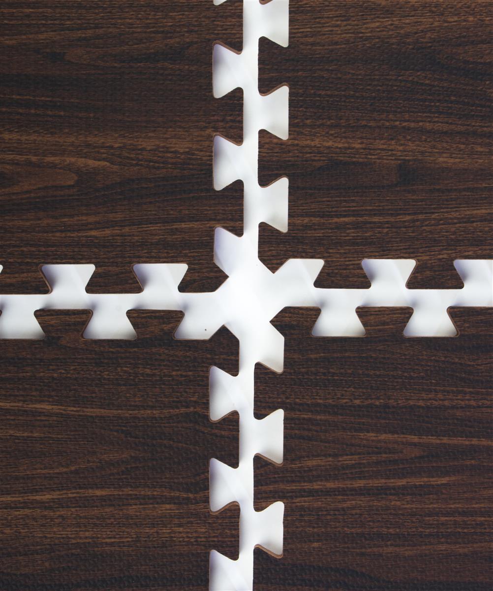 Dark Oak Interlocking Wood Floor Mats Faux Wood Grain