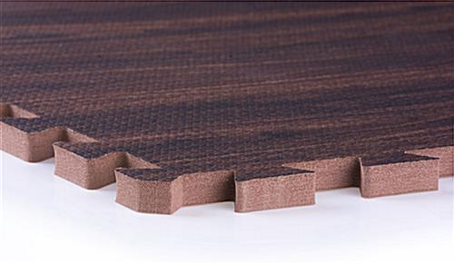 Dark Oak Interlocking Wood Floor Mats - Non-Toxic & Odor Free