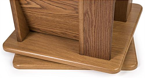 Detail of base of medium oak revolving wooden display