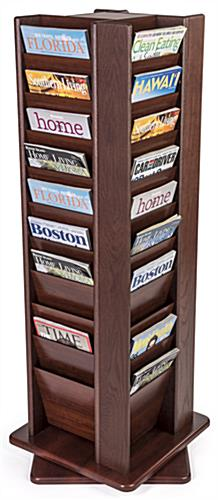 Oak magazine rack shown propped with literature