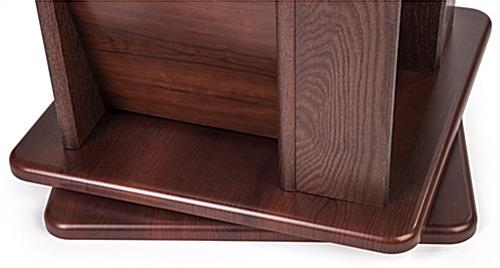 Oak magazine rack base wood finish detail