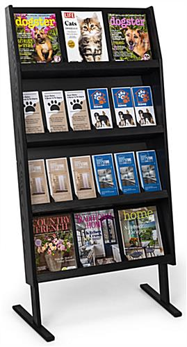 Black floor standing wooden literature shelving