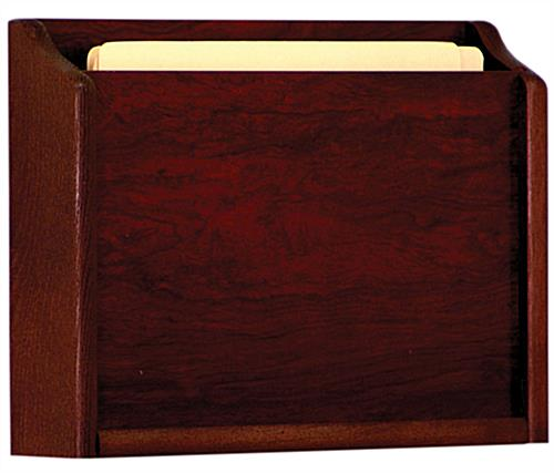 Red mahogany wooden wall medical chart holder for HIPAA compliance