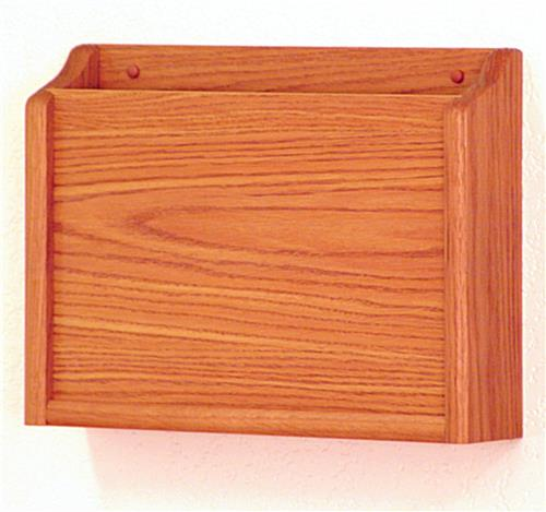 Medium oak finish HIPAA wall pocket file with solid wood construction