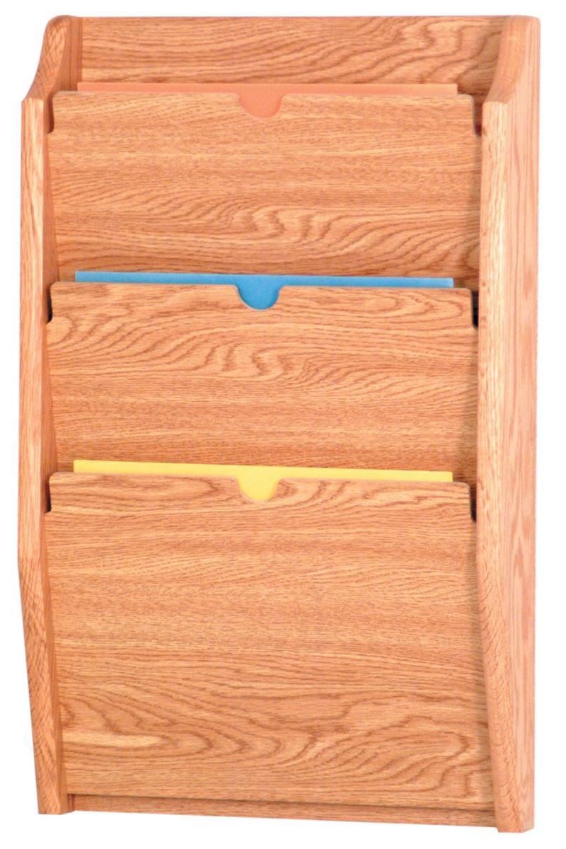 Hipaa Wall File Holder 3 Pocket Rack In Light Oak