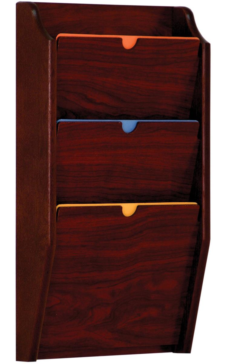 3 Tiered File Holder For Wall Mount Pockets Meets Hipaa Standards Mahogany