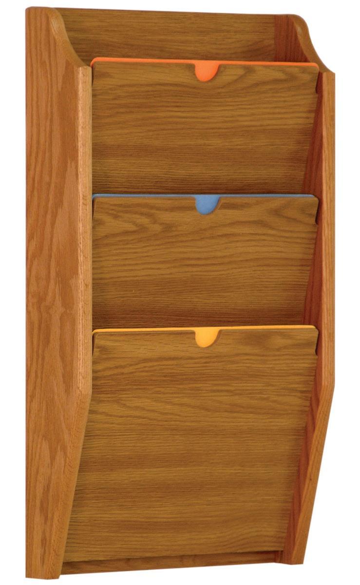 Hipaa Wall File Holder 3 Pocket Rack In Medium Oak