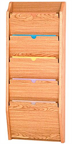 Light Oak 5 Pocket Privacy Chart Holder