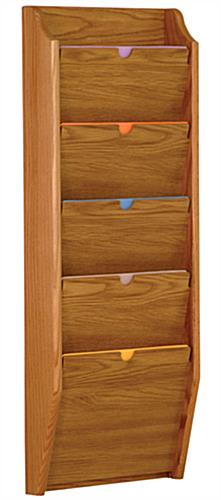 Medium Oak 5 Pocket Privacy Chart Holder