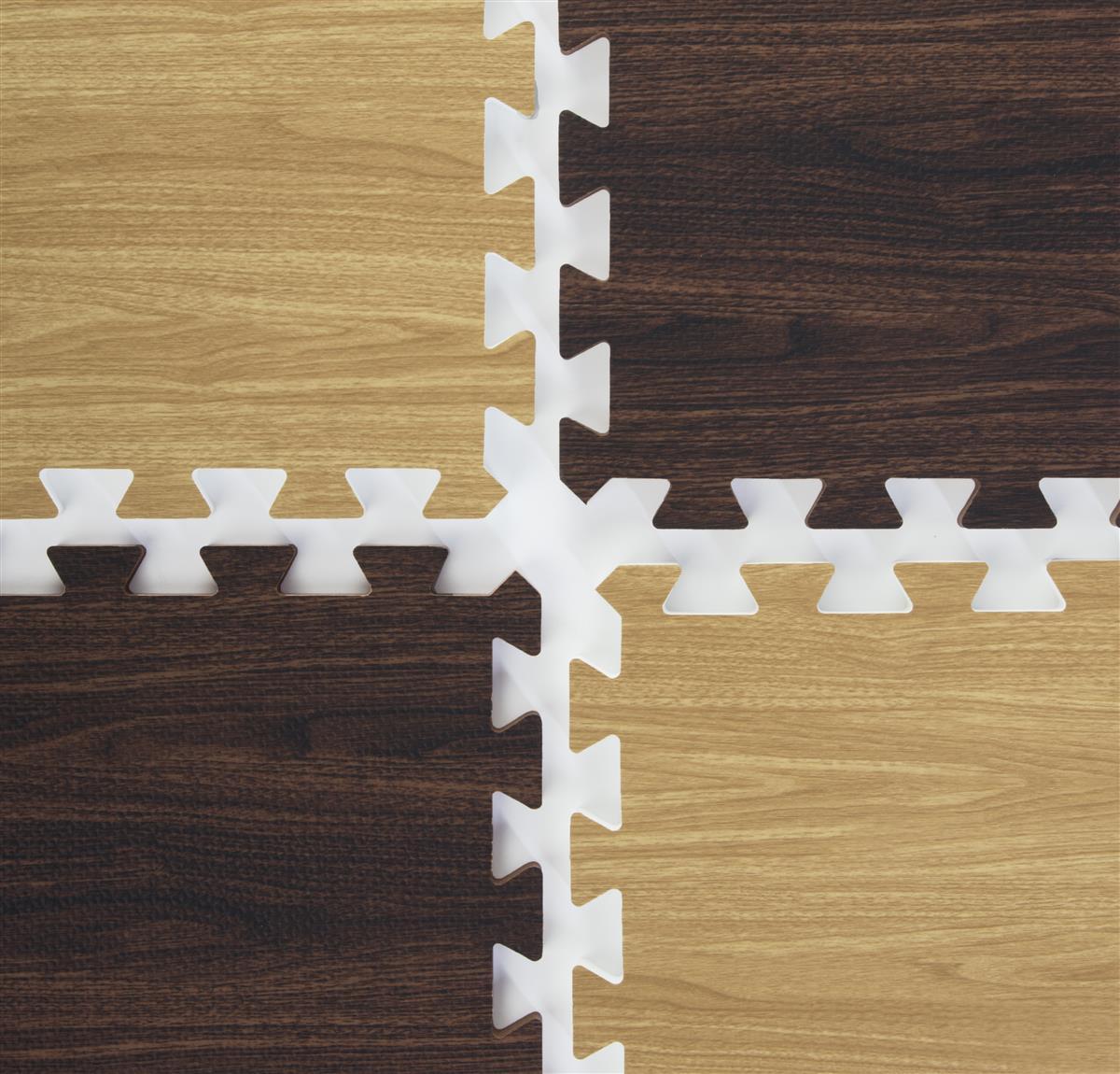 Light Dark Interlocking Wood Floor Mats 10ft X 10ft