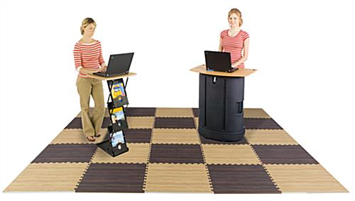 Light & Dark Wood Interlocking Floor Mats with Checkered Design