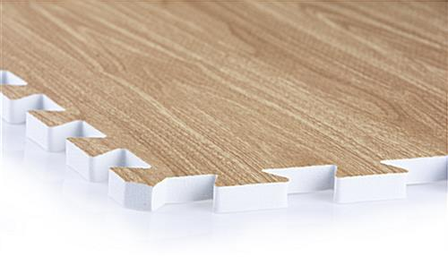 Light Oak Interlocking Wood Floor Mats with Interlocking Edges