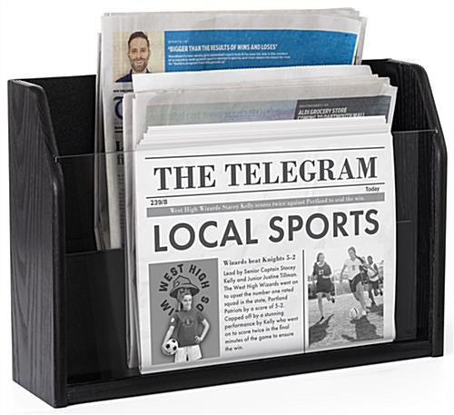 Tiered wooden newspaper rack with sleek black stain