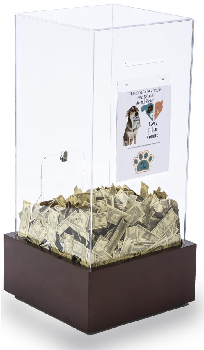 Acrylic Donation Lock Box Mahogany Laminate Mdf Base