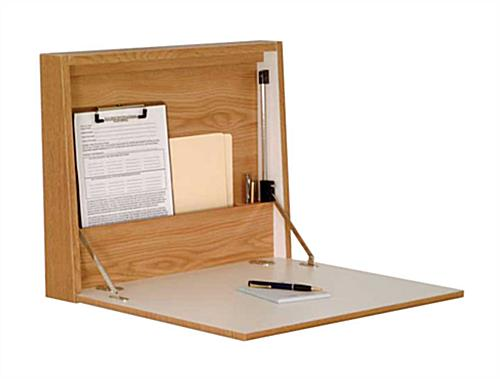 wall mounted folding desk oak finish rh displays2go com wall foldable desk wall mounted folding desk ikea