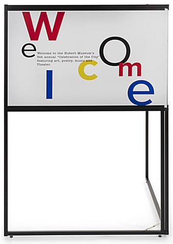 Free standing corner sign frame includes two personalized panes with landscape orientation