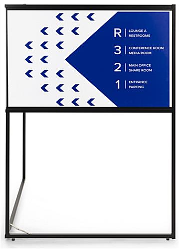 Free standing corner sign frame includes 2 custom printed graphics with foam core board construction