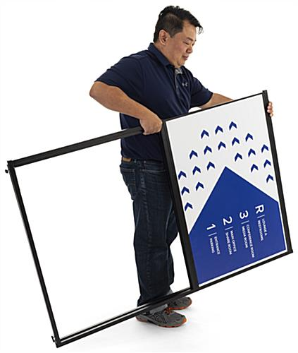 Collapsible free standing corner sign frame made of lightweight metal