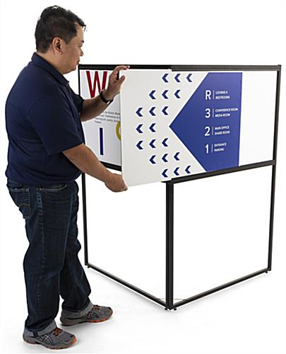 Free standing corner sign frame with slide insert loading style