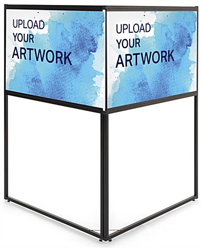 Free standing corner sign frame with two separate full color printing areas