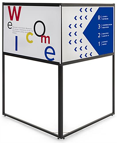 Free standing corner sign frame with 36 x 24 rectangular panels