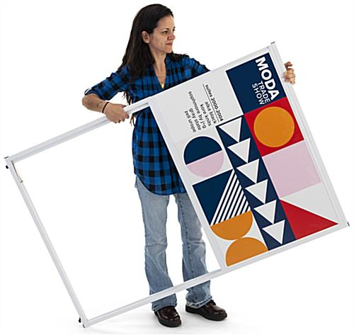 Collapsible multi direction corner signage with lightweight construction