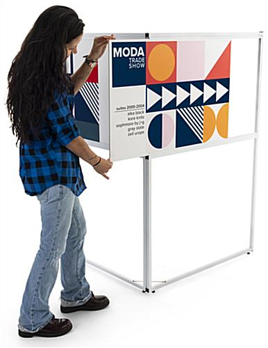 Multi Direction corner signage with side insert loading side