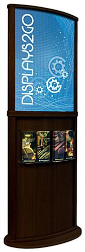 Walnut Poster Stand with 4 Brochure Pockets