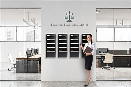 Wood wall folder rack with 5 pockets used in a law firm