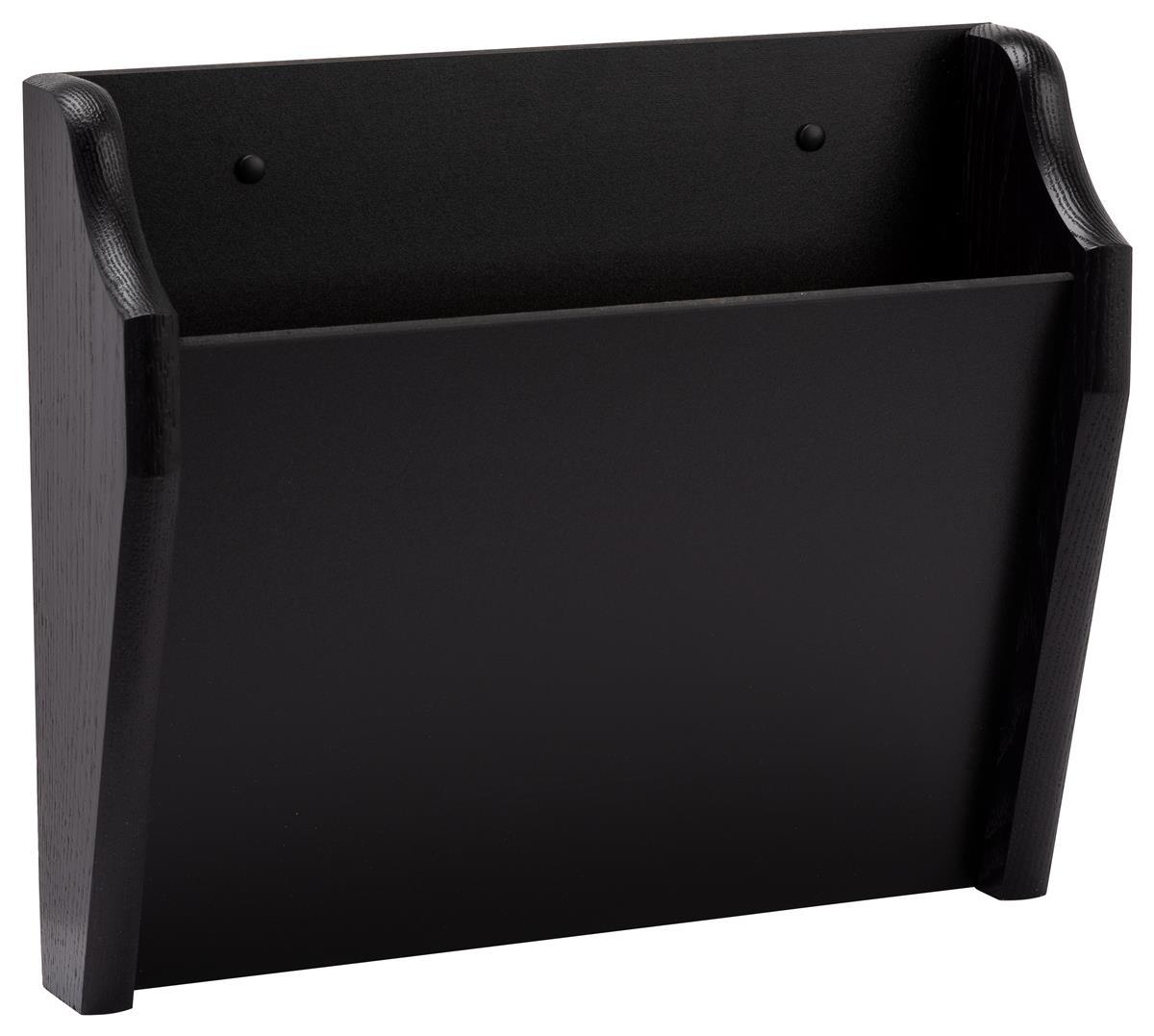 Single Pocket Wooden Wall File Holder Sleek Black Wood Finish