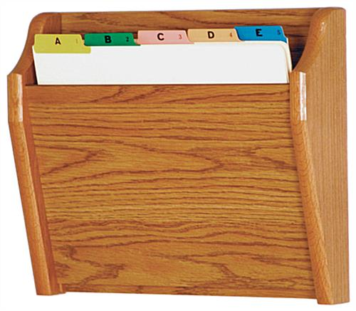 Wood wall mount single file holder in medium oak finish color