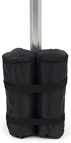 Sandbags for pop up tents secures around leg
