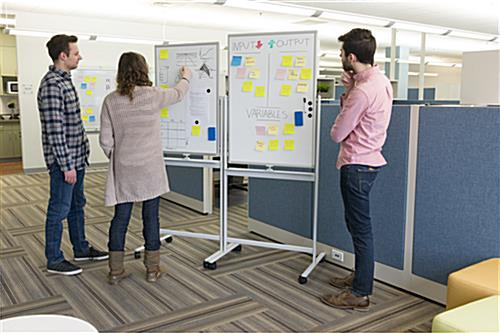 Magnetic whiteboard paired for stand-up meeting