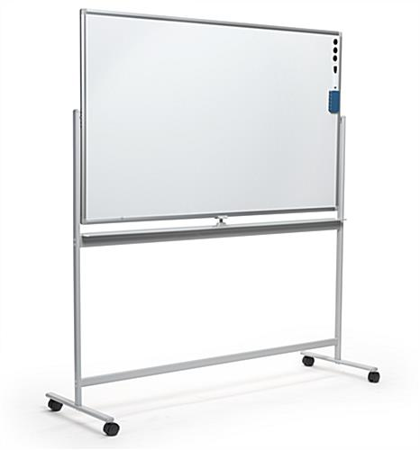 Landscape-oriented whiteboard on wheels