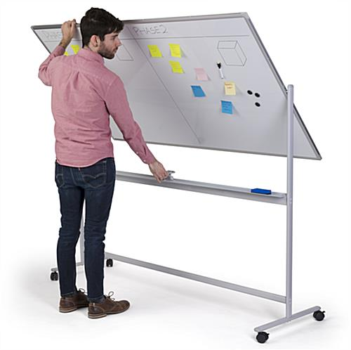 Dual-sided whiteboard with wheels