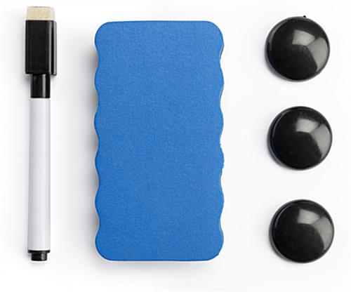 Accessories included with whiteboard with wheels