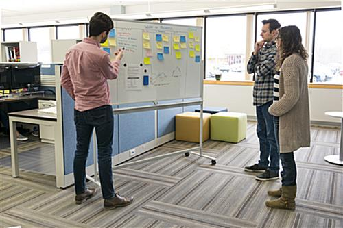 Whiteboard with wheels for stand-up meeting