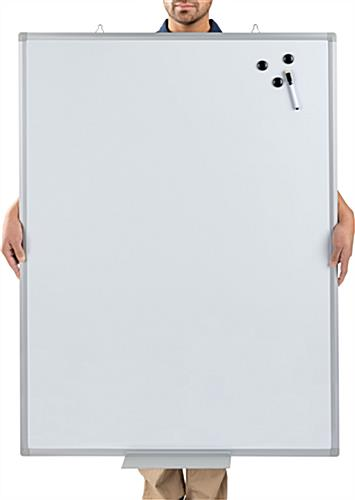 Person behind magnetic dry erase board 36 x 48 for scale