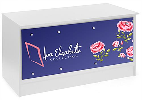 6' Sales Counter with Custom Graphics, Silver Standoffs