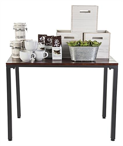 Urban tall industrial pipe table display