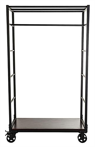 Industrial wheeled garment display rack with 1 removable rod