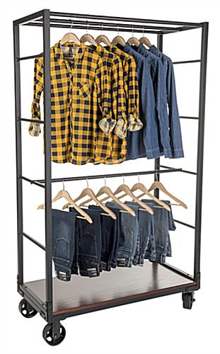 Industrial wheeled garment display rack with bottom shelf