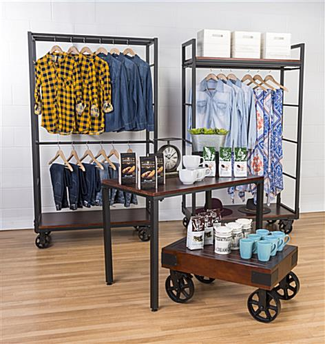 Industrial wheeled garment display rack for modern rustic look