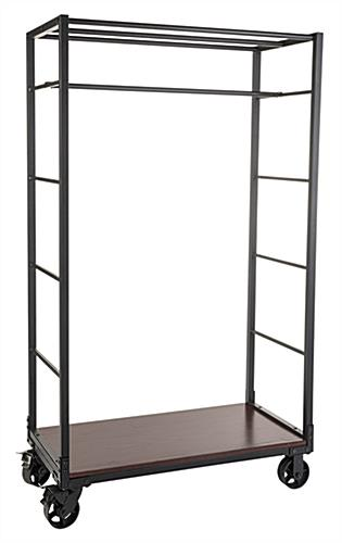 Industrial wheeled garment display rack with clothing rod